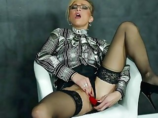 Amazing Cute Dildo Glasses Masturbating  Solo Stockings Teacher Toy