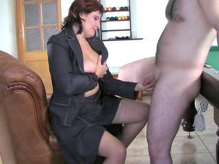 Handjob  Russian Small cock Stockings