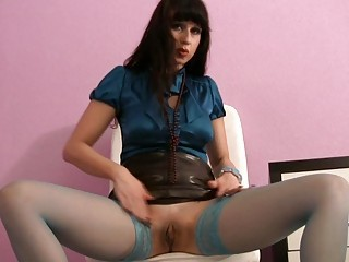 Amazing Masturbating  Pussy Shaved Solo Stockings