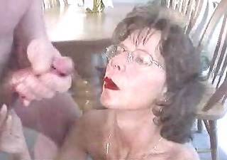 Amateur Cumshot Facial Glasses Homemade  Older Small cock Wife
