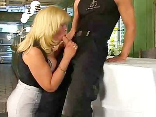Blonde Blowjob Clothed European German  Mom Old and Young German