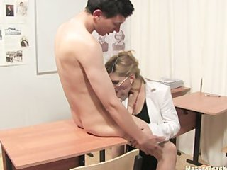 Blowjob Clothed Glasses Mature Mom Old and Young Russian School Teacher