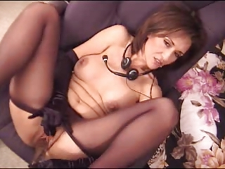 Amazing Brunette Cute Masturbating  Mom Pantyhose Small Tits Toy Mother