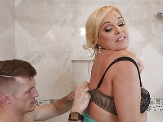 Bathroom Lingerie Mature Mom Old and Young Boobs