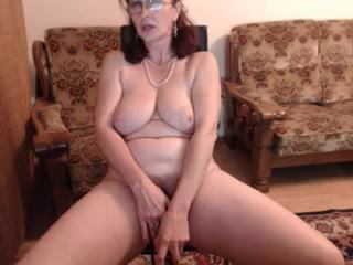 Big Tits Glasses Masturbating Mature Natural  Solo Webcam Amateur