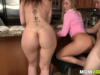 Amazing Ass Family Kitchen  Mom Old and Young Pornstar Tattoo Threesome Huge Stepmom Mother
