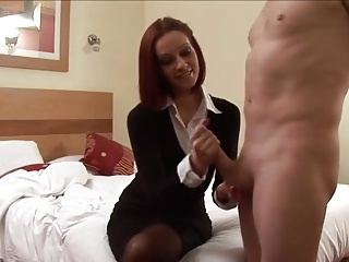 Amateur British Cumshot European Handjob  Secretary Stockings British