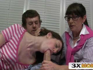 Blowjob Glasses Mature Mom Old and Young Teacher Teen Threesome Mother
