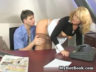Mom Office Old and Young Secretary Stockings Boss