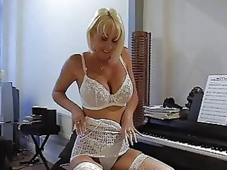 Amazing Blonde Cute Lingerie  Stockings Stripper Teacher Bikini