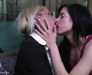 Kissing Lesbian Mom Old and Young Daughter Mother