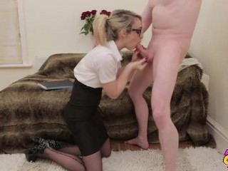 Blowjob British Clothed European Glasses  Secretary Stockings Son Huge Stockings Mother British