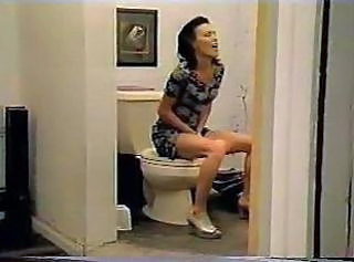 Brunette Masturbating  Solo Toilet Insertion Milf Ass