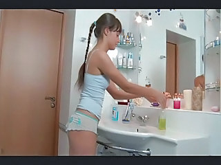 Cute Pigtail Russian Skinny Bathroom