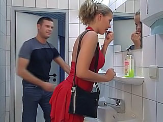 Amazing Ass Babe Bathroom Swallow