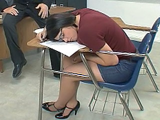 Sleeping Strapon Jeans Ass  School Teacher Sleeping Brunette
