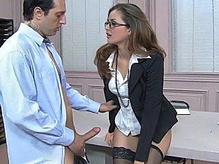 Brunette Clothed Glasses Office Secretary Stockings Babe Ass Office Babe Stockings