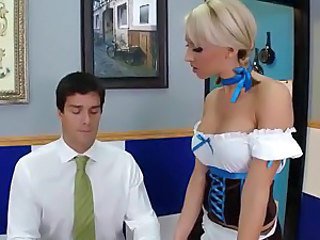 Babe Blonde European Uniform European Waitress