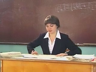 Amazing Brunette Russian Teacher Threesome