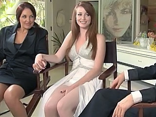 Amazing Brunette Lesbian Pornstar Threesome Wedding European