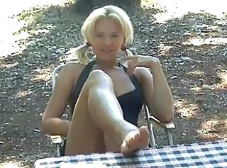 Blonde Cute Feet Outdoor Pigtail Cute Blonde Outdoor Footjob Foot