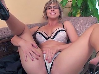 Blonde Glasses Lingerie Masturbating  Blonde Mom Lingerie Masturbating Mom Milf Ass Milf Lingerie