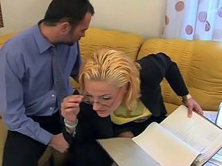 Blonde Glasses  Office Pornstar Stockings Nylon