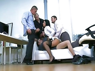 Double Penetration Gangbang Office Stockings Stockings
