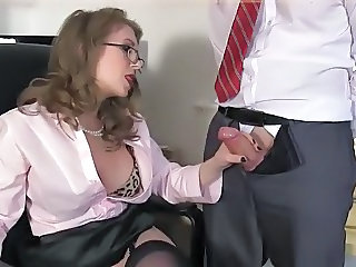 Glasses Handjob  Office Secretary Handjob Cock Milf Ass Milf Office Office Milf