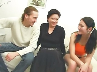 Family Mature Mom Old and Young Threesome