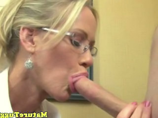 Blonde Blowjob  Glasses Mature Teacher