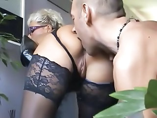 Blonde European German Licking Mature Mom Old and Young Stockings