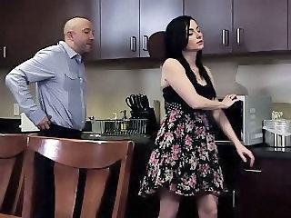 Brunette Daddy Daughter Kitchen Old and Young Skirt Teen