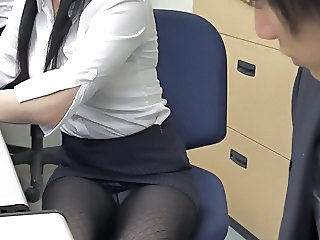 Asian Office Pantyhose Secretary Skirt Upskirt Pantyhose