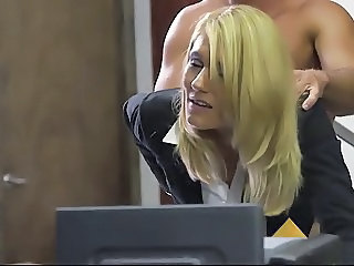 Blonde Clothed Hardcore  Office Secretary