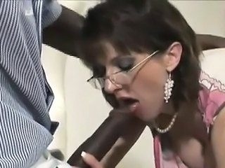 Blowjob Glasses Interracial  Pornstar