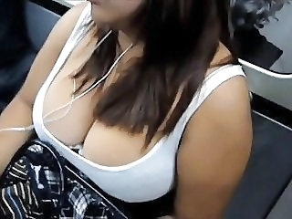 Big Tits Bus  Natural Voyeur Boobs Huge
