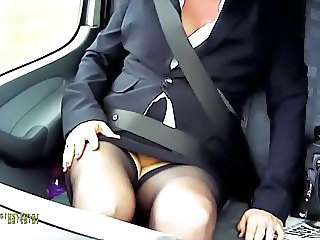 Amateur British Car European  Secretary Upskirt