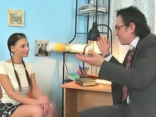 Brunette Cute Daddy Old and Young Pigtail Student Teacher Teen