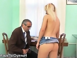 Blonde Daddy Old and Young Student Teacher Teen Boobs Dirty