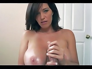 Amazing Big Tits Brunette Handjob  Natural Oiled