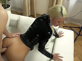 Amazing Anal Blonde Clothed Doggystyle Latex