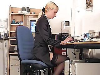 Blonde Office Secretary Stockings Teen