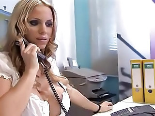 Amazing Blonde Cute European German  Office Secretary Silicone Tits German