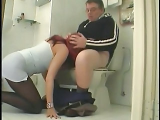 Blowjob Clothed Daddy European German Old and Young Redhead Teen Toilet