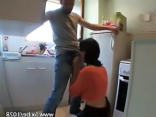 Blowjob Clothed Kitchen Wife