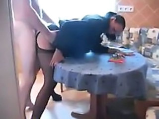 Amateur Clothed Homemade Kitchen Pantyhose Wife