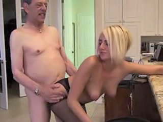 Blonde Daddy Daughter Kitchen Old and Young Pantyhose