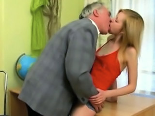Daddy Kissing Old and Young Student Teacher Teen