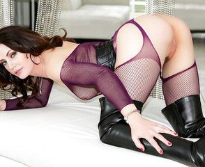 Amazing Babe Brunette Fishnet Mature Pornstar Stockings